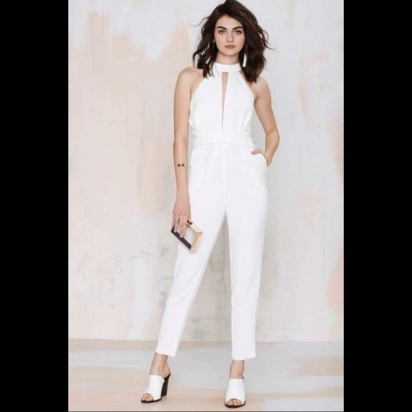393c32e943b C/MEO Collective Pants - C/meo Cameo Coll. White Jumpsuit Breaking Hearts
